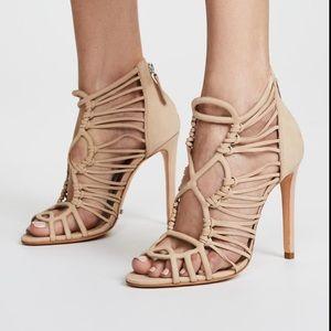 Schutz Naama Caged Sandals Nubuck Light Leather